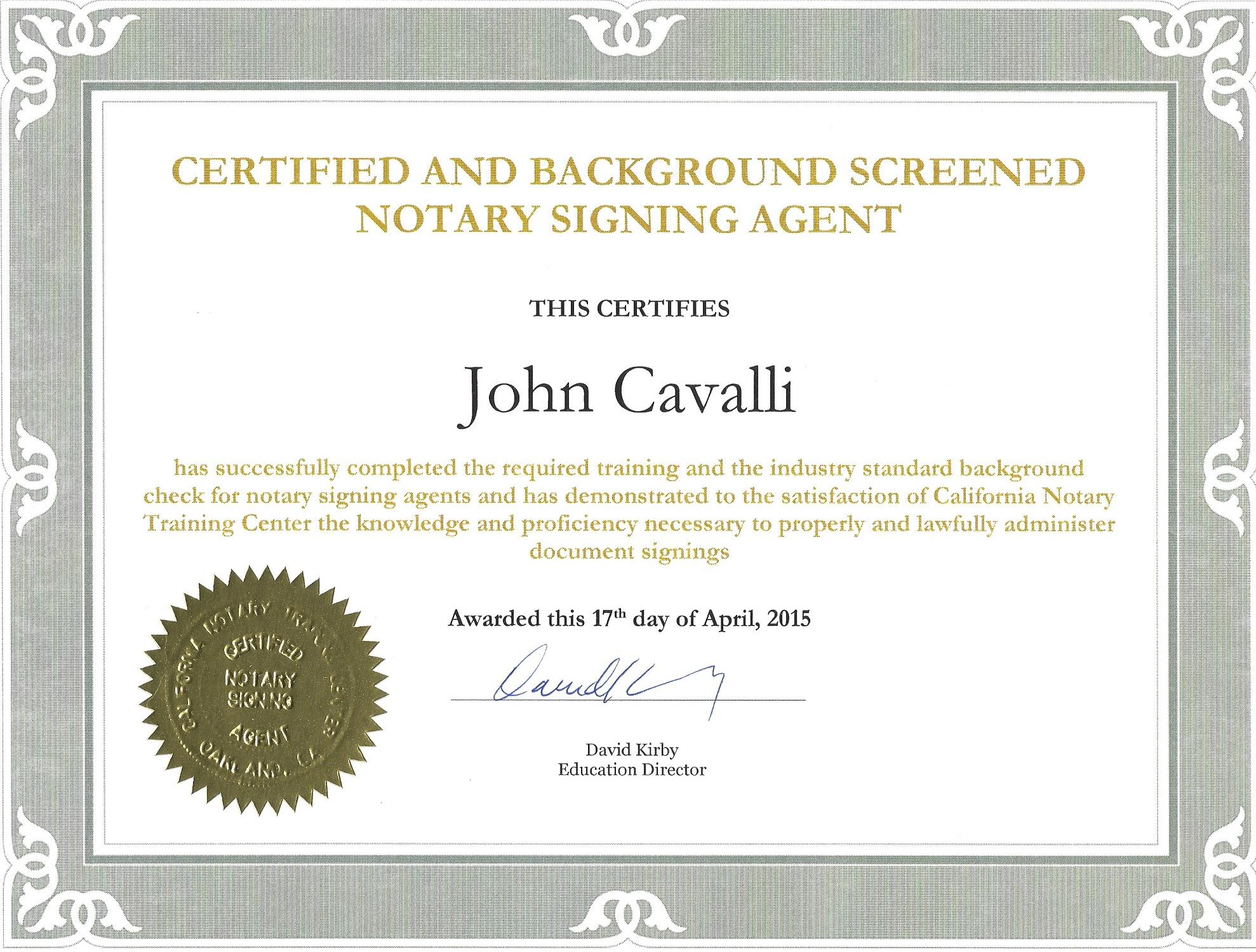 loan signing notary certificate